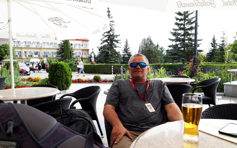 Chris in Poland with a cold one