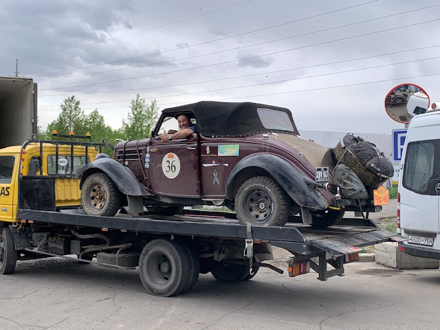 Ford on a flatbed